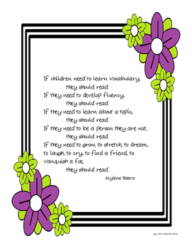 FREE A Reminder Why Children Should Read Quote - Purple and Green Flowers