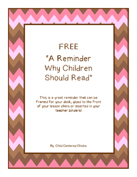 FREE Why Children Should Read Quote - Pink and Brown Chevron