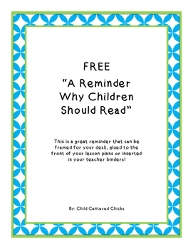 FREE A Reminder Why Children Should Read Quote - Turquoise and Green