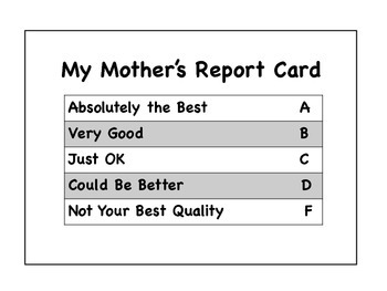 A Report Card For My Mother On Mother's Day