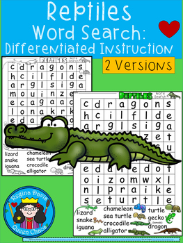 A+ Reptiles Word Search: Differentiated Instruction
