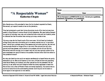"""KATE CHOPIN'S """"A RESPECTABLE WOMAN"""": Annotation Organizer"""