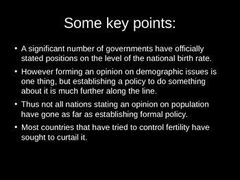 A Response to Population Issues: Population Policies PowerPoint