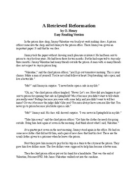 A Retrieved Reformation - O. Henry - Easy Reading Version