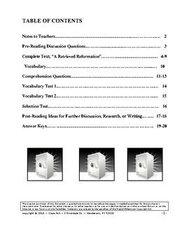 """O. Henry: """"A Retrieved Reformation"""" Close Reading Study Guide"""