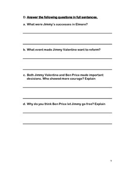 A Retrieved Reformation by O'Henry -  reading comprehension test and answer keys