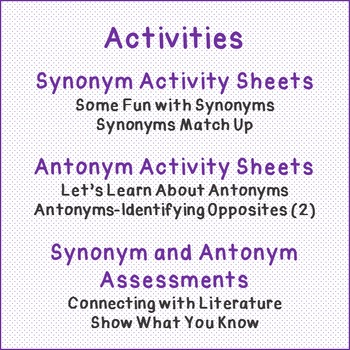 A Review of Synonyms and An Introduction to Antonyms