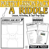 A Riddle (POEM): Common Core Poetry Test Prep Lesson, Quiz, Activities