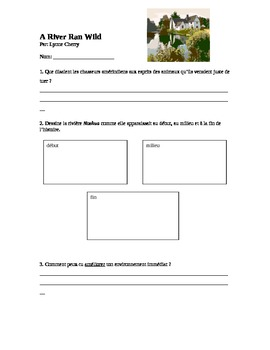 A River Ran Wild French Comprehension Worksheet