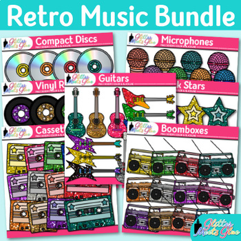 Music Clip Art Bundle {Guitars, Microphones, CDs, Tapes, Records, & Radios}