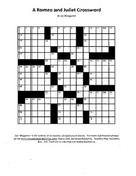 A Romeo and Juliet Crossword, William Shakespeare, Fun Rev