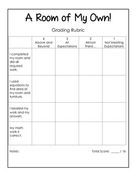 A Room of My Own - A Third Grade Common Core Area Exploration