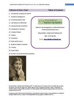 A Room of One's Own-Woolf Teacher Text Guides & Worksheets