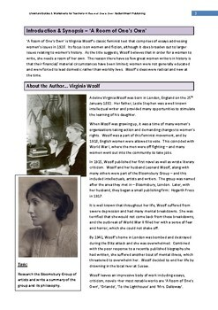 A Room of One's Own-Woolf Teacher Text Guides & Worksheets Updated 2018