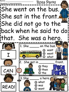 A+ Rosa Parks Comprehension: Differentiated Guided Reading