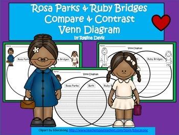A+  Rosa Parks & Ruby Bridges Venn Diagram...Compare and Contrast