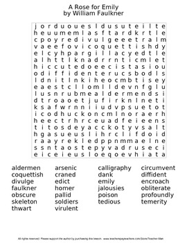 A Rose for Emily Guided Reading Worksheet Crossword & Wordsearch