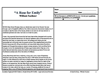 """A Rose for Emily"" by William Faulkner: Annotation Organizer"