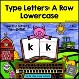 A Row Lowercase Typing Center - Internet - No Prep Boom Cards