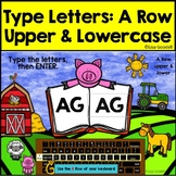 A Row Upper & Lowercase Typing Center - Internet - No Prep Boom Cards