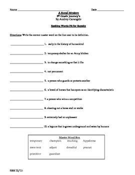Journeys Common Core 5th - A Royal Mystery Supplemental Packet for the SLP