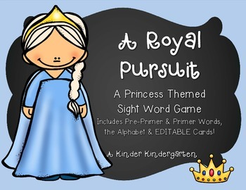 A Royal Pursuit: A Princess Themed Sight Word Game (EDITABLE)