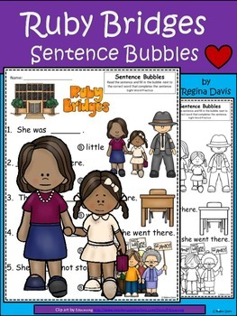 A+ Ruby Bridges: Fill In the Blank.Multiple Choice Sight Word Sentences