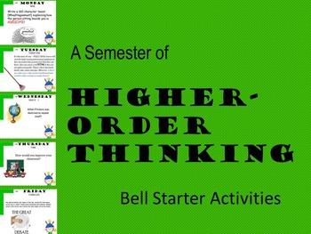 A SEMESTER OF HIGHER-ORDER THINKING ENGLISH BELL STARTER ACTIVITIES