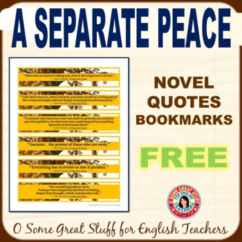 A SEPARATE PEACE FREE BOOKMARKS