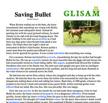 SAVING BULLET: a short story to build vocabulary in struggling readers (+ audio)
