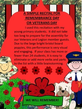 A SIMPLE RECITAL FOR REMEMBRANCE DAY OR VETERANS DAY