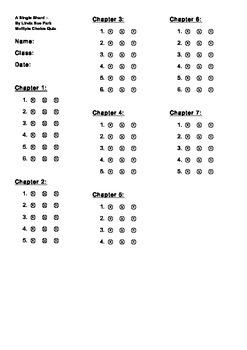 A SINGLE SHARD ~ Multiple Choice Quiz