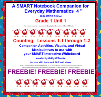 A SMART Notebook Companion for Everyday Math 4 2014 CCSS Edition Grade 1 FREEBIE