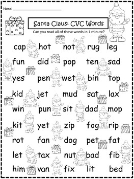 A+ Santa Claus: CVC Words And Letter Reading Practice