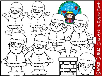 A+ Santa Claus Christmas Clip Art...Color And Black And White Included