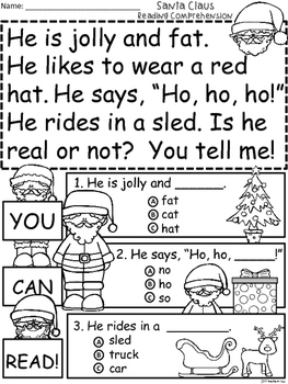 A+ Santa Claus Comprehension:Differentiated Instruction For Guided Reading