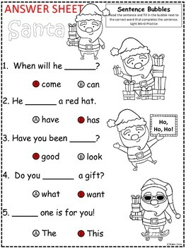 A+ Santa: Fill In the Blank.Multiple Choice Sight Word Sentences