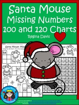 A+ Santa Mouse Missing Numbers....Using a 100 or 120 Chart To Fill In Missing #s