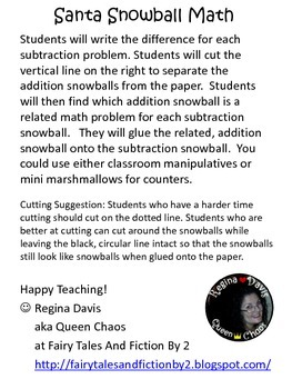 A+ Santa Snowball Math: Related Addition and Subtraction Sentences
