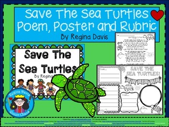 A+ Save the Sea Turtles Poem, Poster and Rubric