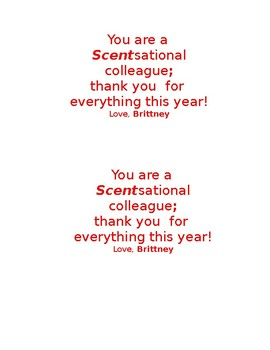 A 'Scentsational Thank You' Gift Tags - Editable