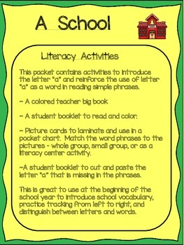 A School Book ~ Literacy Activities
