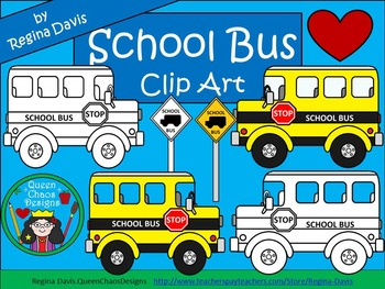 A+ Clip Art:  School Bus & School Bus Sign