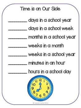 """A School Year Is...."" End of Year Math Activity"