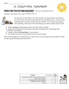 A Scientfic Summer? Introduction writing activity-thinking like a scientist