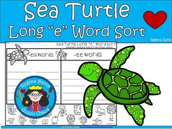 "A+ Sea Turtle: Long ""e""  Word Sort (ea and ee words)"