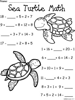 A+ Sea Turtle: Math... Addition and Subtraction Differentiated  Practice