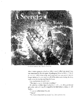 """A Secret Lost in Water"" - worksheet, key and text"
