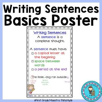 Writing Sentences Basics  Poster/Anchor Chart