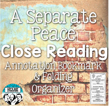 A Separate Peace Annotation Bookmark and Foldable